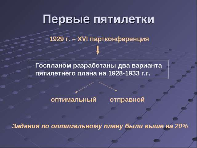 Первые пятилетки 1929 г. – XVI партконференция Госпланом разработаны два вари...