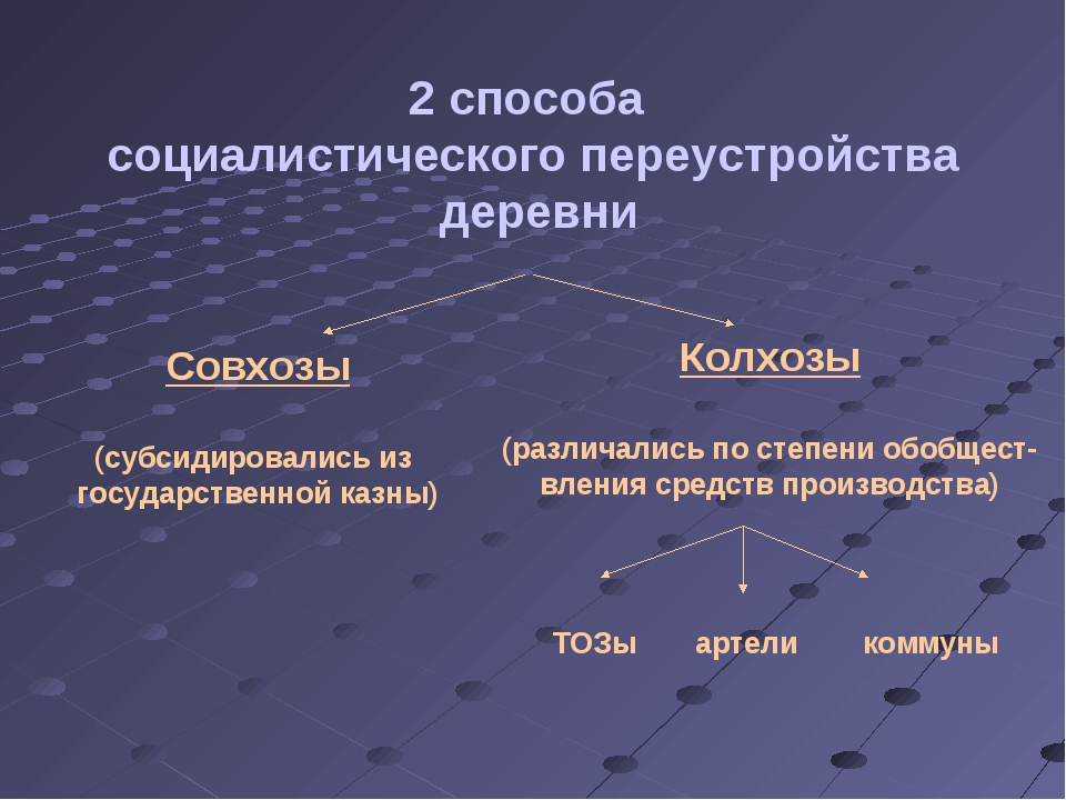 2 способа социалистического переустройства деревни Совхозы (субсидировались и...