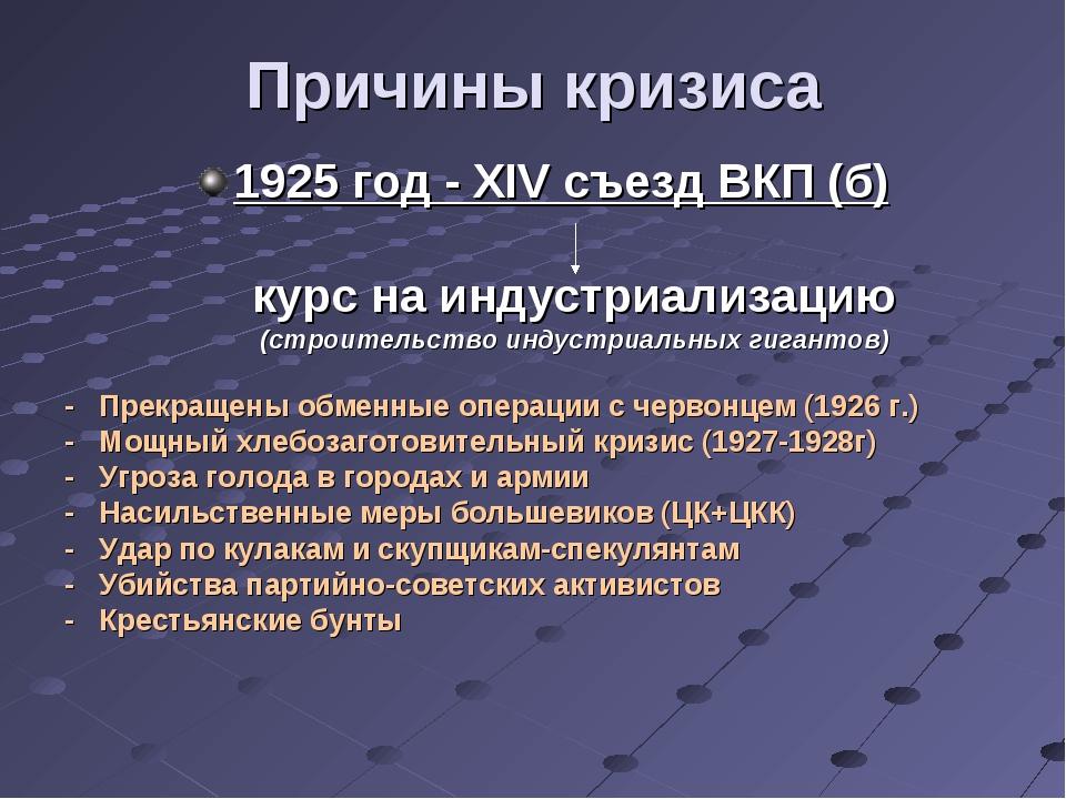 Причины кризиса 1925 год - XIV съезд ВКП (б) курс на индустриализацию (строит...