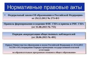 Нормативные правовые акты Федеральный закон«Об образовании в Российской Федер