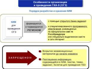 Особенности организации и проведения ГИА-9 (ОГЭ) Порядок разработки и хранени