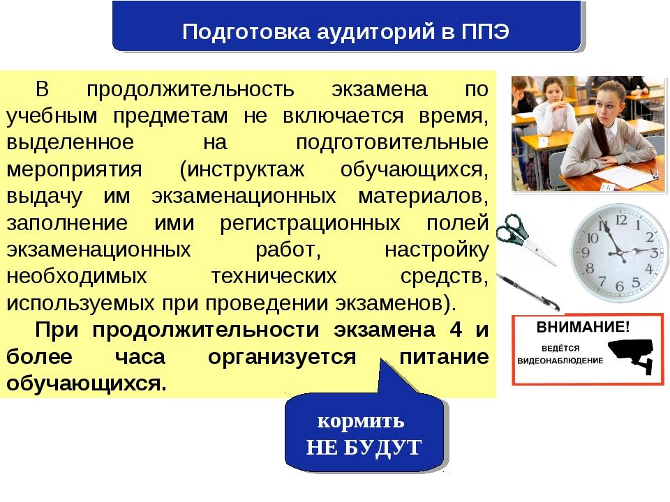 Подготовка аудиторий в ППЭ В продолжительность экзамена по учебным предметам...