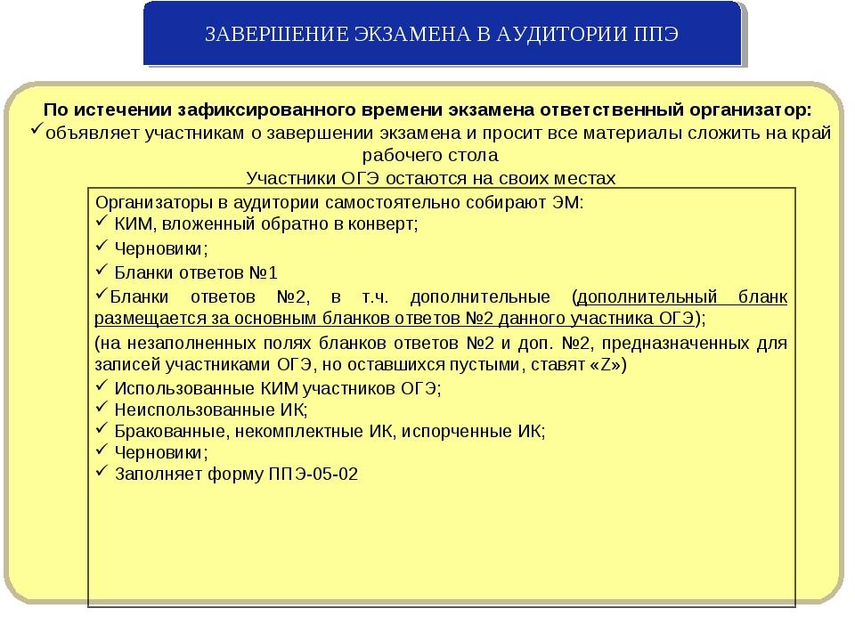 ЗАВЕРШЕНИЕ ЭКЗАМЕНА В АУДИТОРИИ ППЭ По истечении зафиксированного времени экз...
