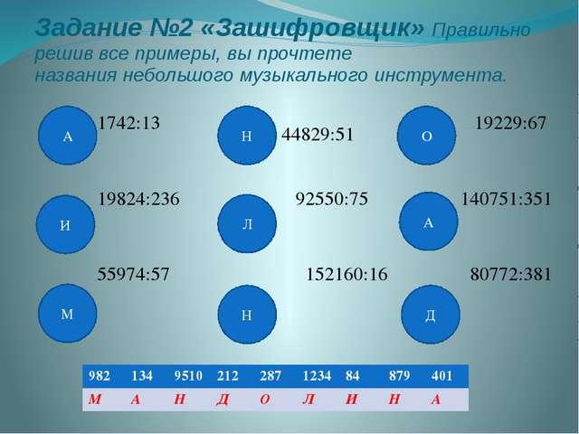 Задание №2 «Зашифровщик» Правильно решив все примеры, вы прочтете названия н...