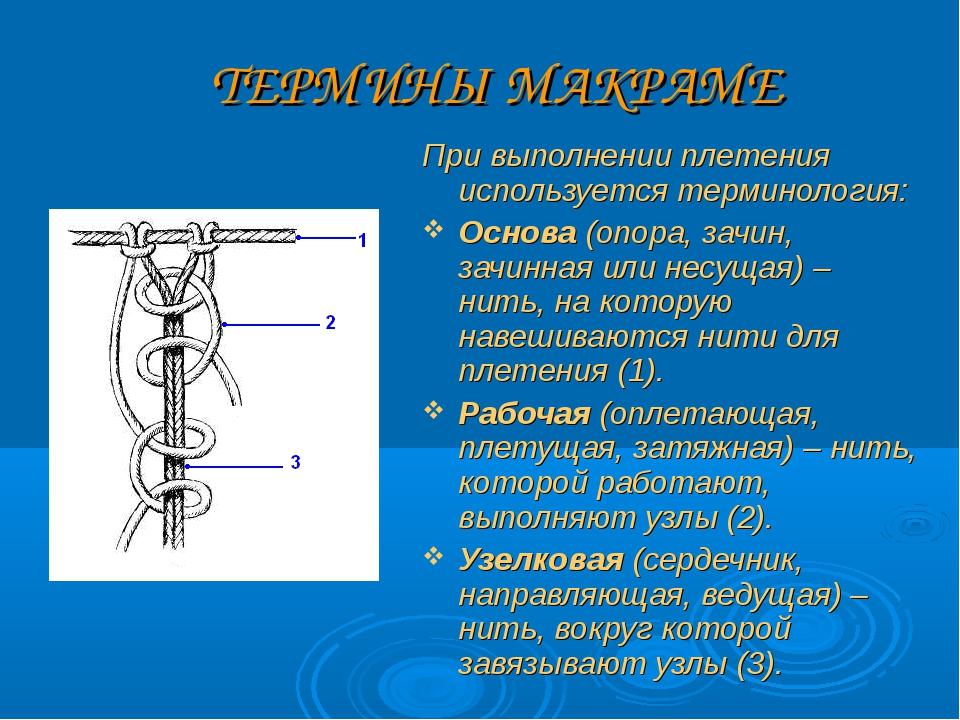 ТЕРМИНЫ МАКРАМЕ При выполнении плетения используется терминология: Основа (оп...