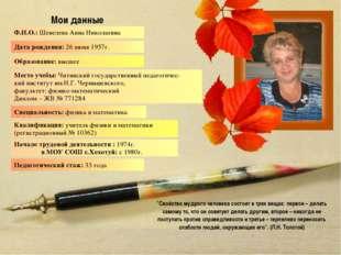 Мои данные Ф.И.О.: Шевелева Анна Николаевна Место учебы: Читинский государств
