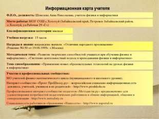 Информационная карта учителя Ф.И.О., должность: Шевелева Анна Николаевна, учи