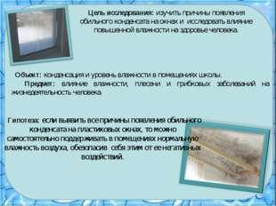 Цель исследования: изучить причины появления обильного конденсата на окнах и