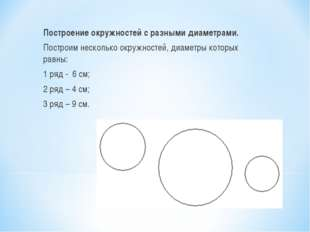 Построение окружностей с разными диаметрами. Построим несколько окружностей,
