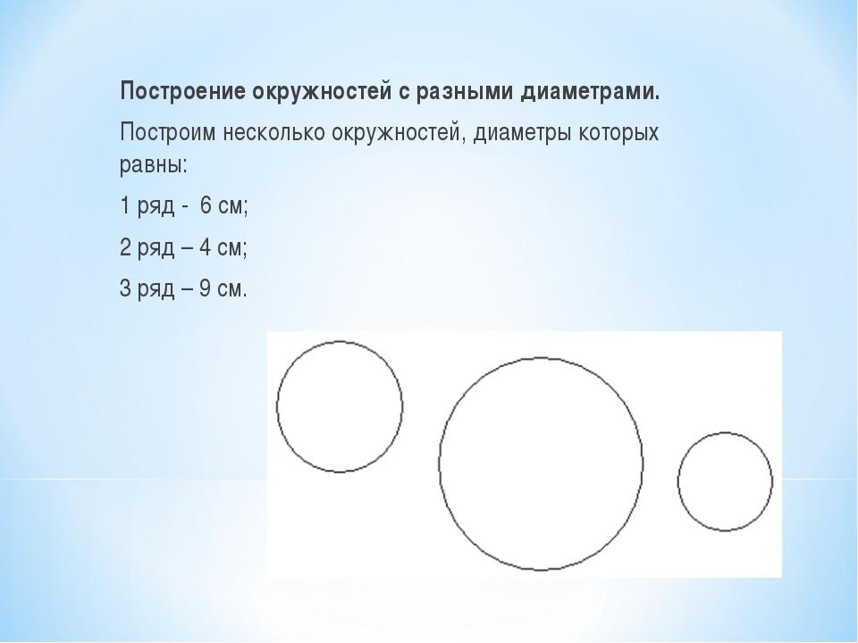 Построение окружностей с разными диаметрами. Построим несколько окружностей,...