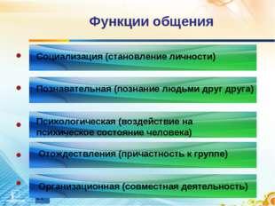 Функции общения Социализация (становление личности) Познавательная (познание