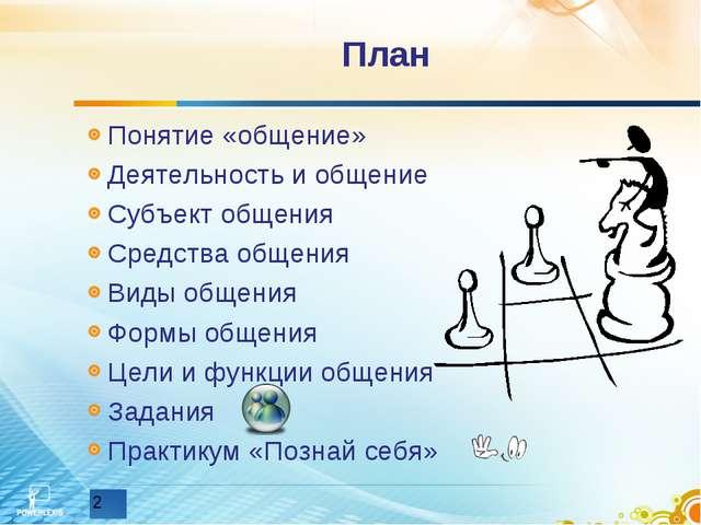 План Понятие «общение» Деятельность и общение Субъект общения Средства общени...