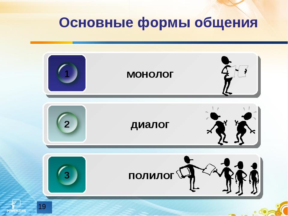 Основные формы общения монолог 1 диалог 2 полилог 3