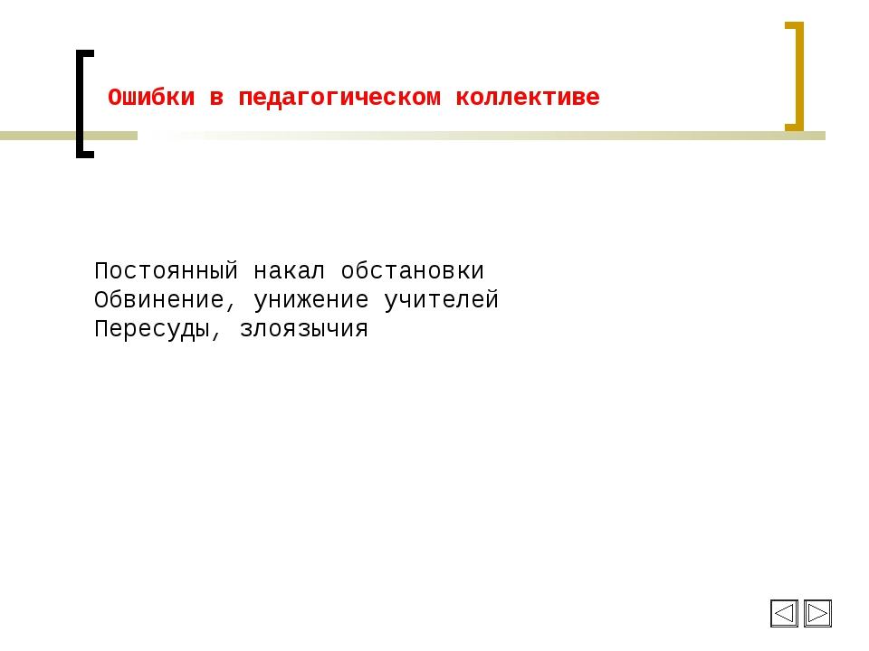 Ошибки в педагогическом коллективе Постоянный накал обстановки Обвинение, уни...