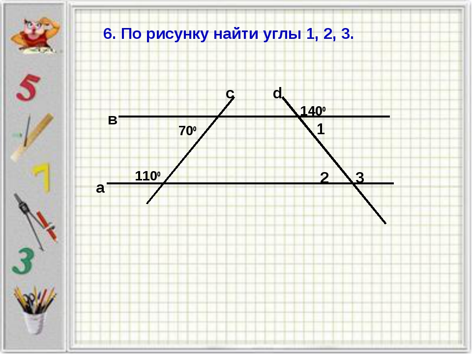 6. По рисунку найти углы 1, 2, 3.