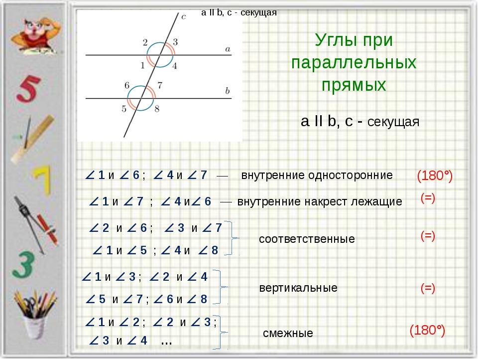 Углы при параллельных прямых a II b, c - секущая a II b, c - секущая  6  1...