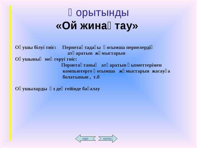 Қорытынды «Ой жинақтау» Оқушы білуі тиіс: Пернетақтадағы қосымша пернелердің...