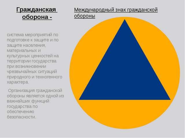 Гражданская оборона - Международный знак гражданской обороны система мероприя...