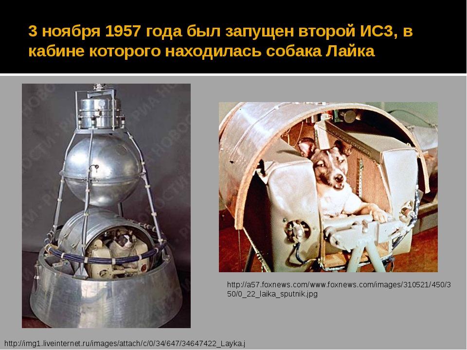 3 ноября 1957 года был запущен второй ИСЗ, в кабине которого находилась собак...