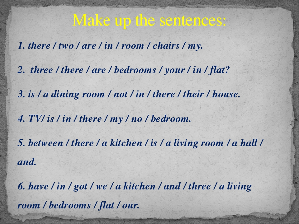 1. there / two / are / in / room / chairs / my. 2. three / there / are / bedr...