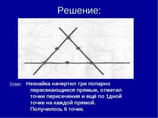 Решение: ● ● ● ● ● ● Ответ: Незнайка начертил три попарно пересекающиеся прям