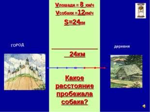 vлошади = 8 км/ч vсобаки =12км/ч s=24км 24км Какое расстояние пробежала соба
