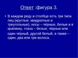 Ответ :фигура 3. В каждом ряду и столбце есть три типа лиц (круглые, квадратн
