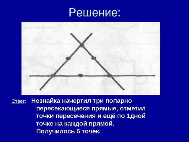 Решение: ● ● ● ● ● ● Ответ: Незнайка начертил три попарно пересекающиеся прям...