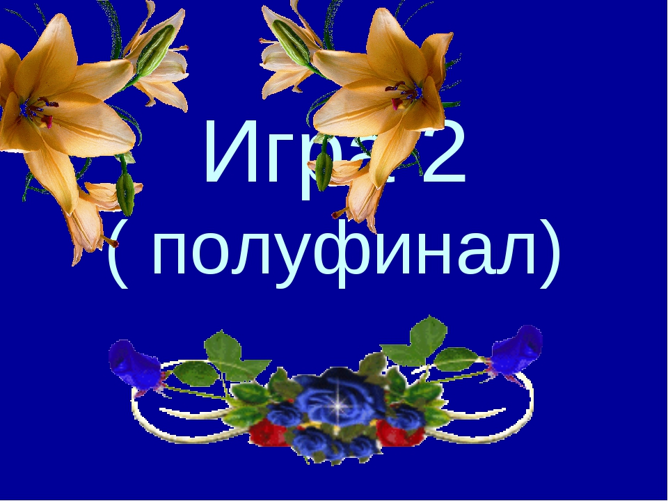 Игра 2 ( полуфинал)