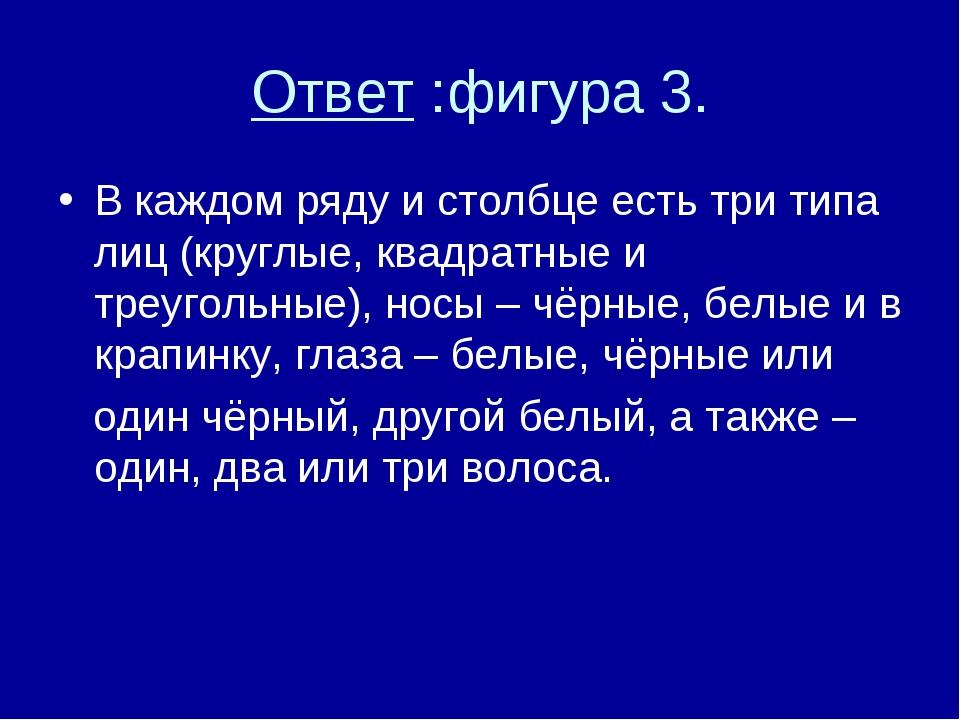 Ответ :фигура 3. В каждом ряду и столбце есть три типа лиц (круглые, квадратн...