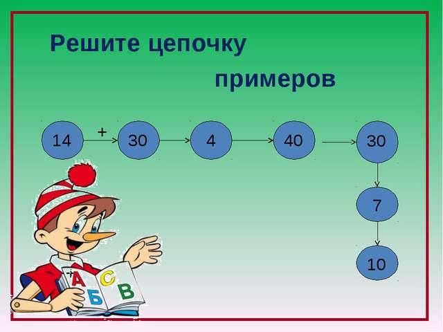 Решите цепочку примеров + - + - - + 14 30 4 40 30 10 7