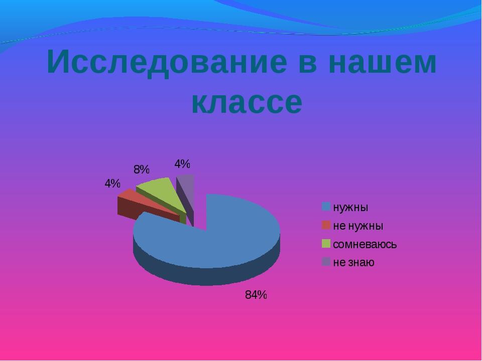 Исследование в нашем классе