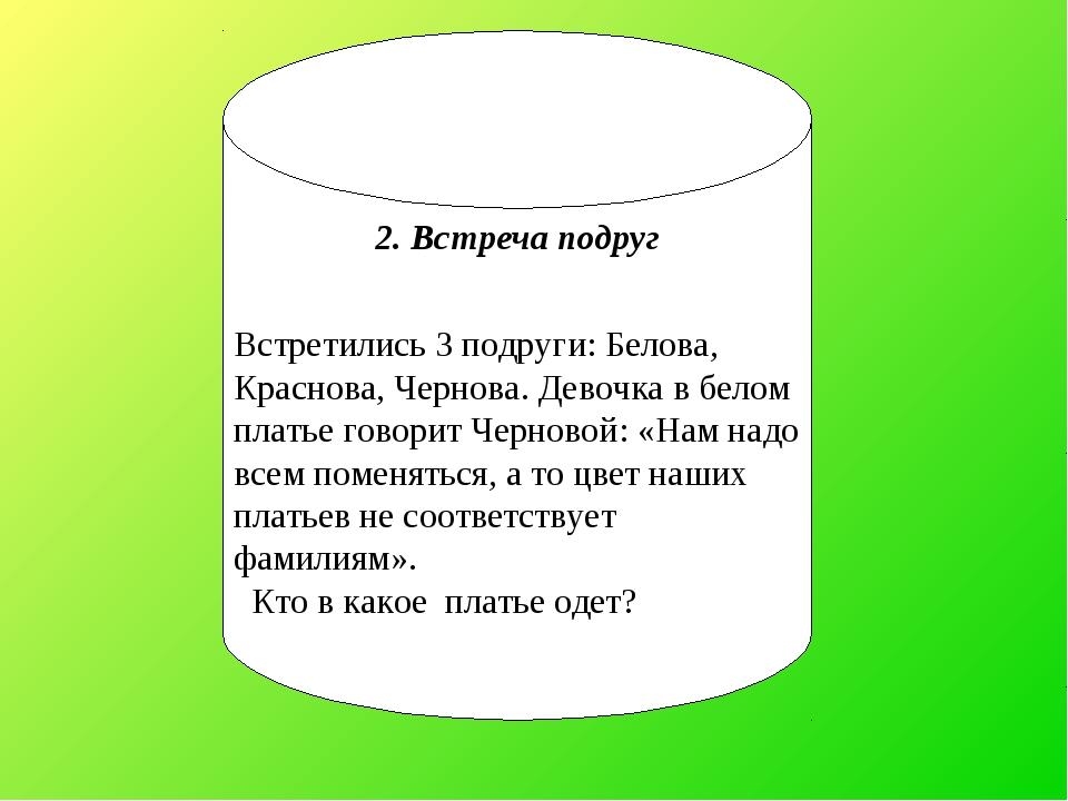 2. Встреча подруг Встретились 3 подруги: Белова, Краснова, Чернова. Девочка в...