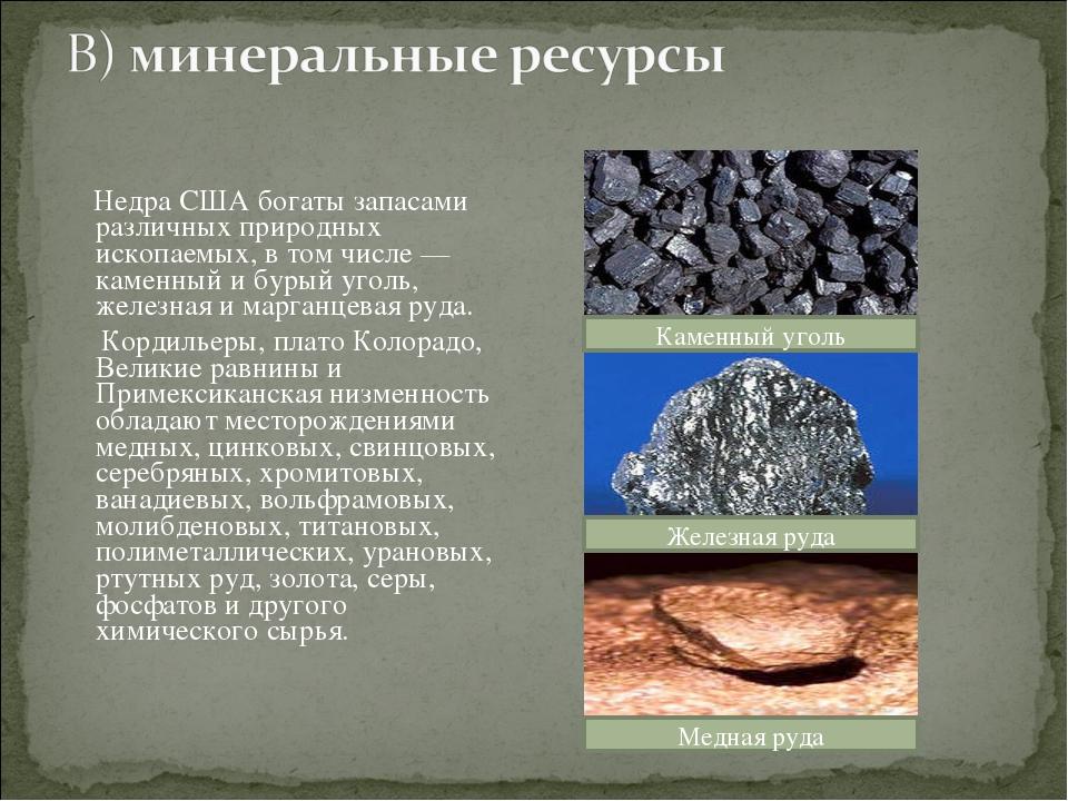 Недра США богаты запасами различных природных ископаемых, в том числе— каме...