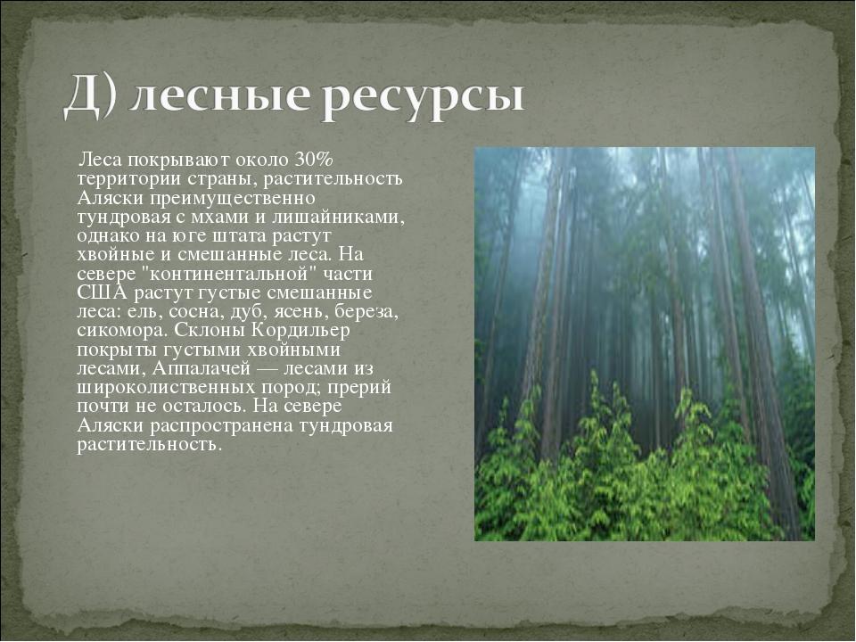 Леса покрывают около 30% территории страны, растительность Аляски преимущест...
