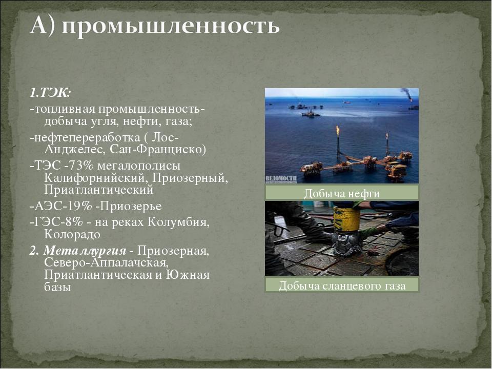 1.ТЭК: -топливная промышленность-добыча угля, нефти, газа; -нефтепереработка...