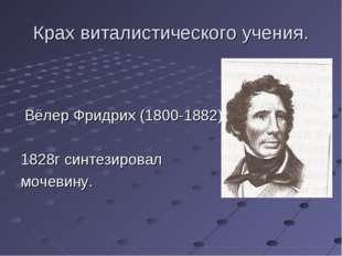 Крах виталистического учения. Вёлер Фридрих (1800-1882) 1828г синтезировал мо