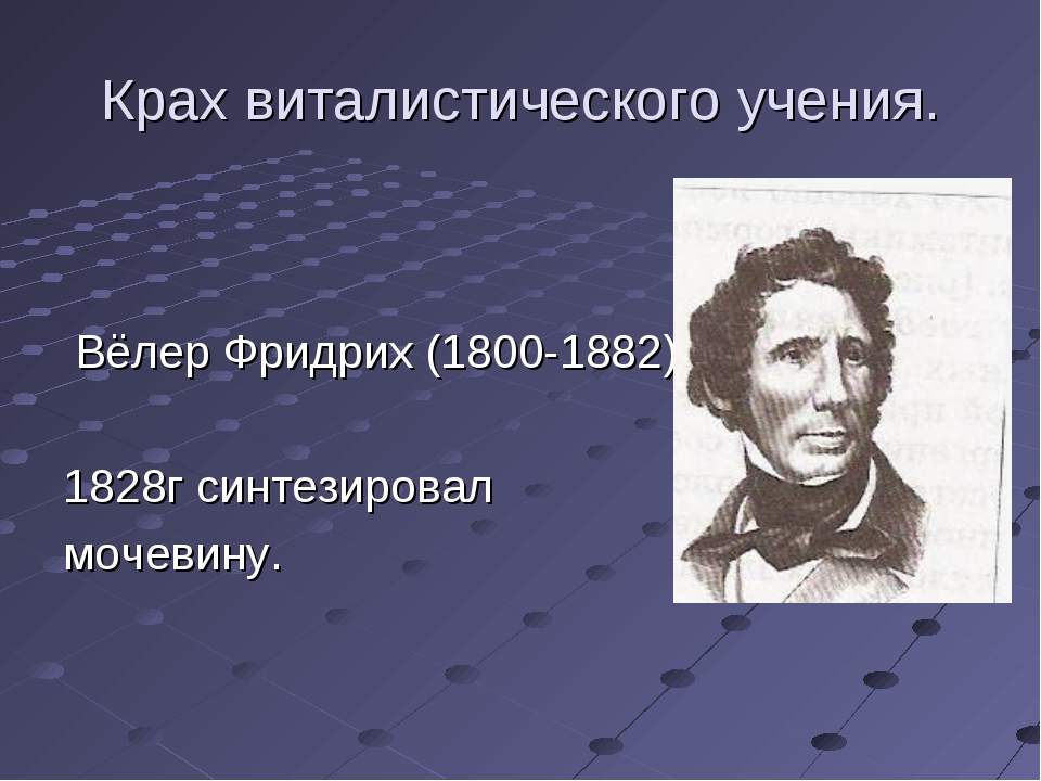 Крах виталистического учения. Вёлер Фридрих (1800-1882) 1828г синтезировал мо...