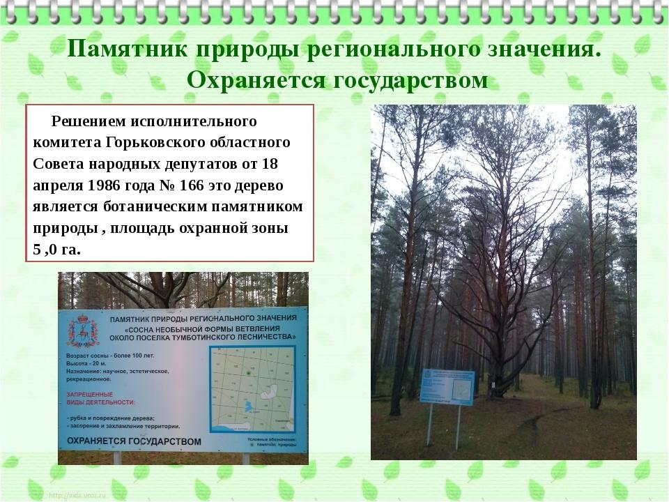 Памятник природы регионального значения. Охраняется государством Решением исп...