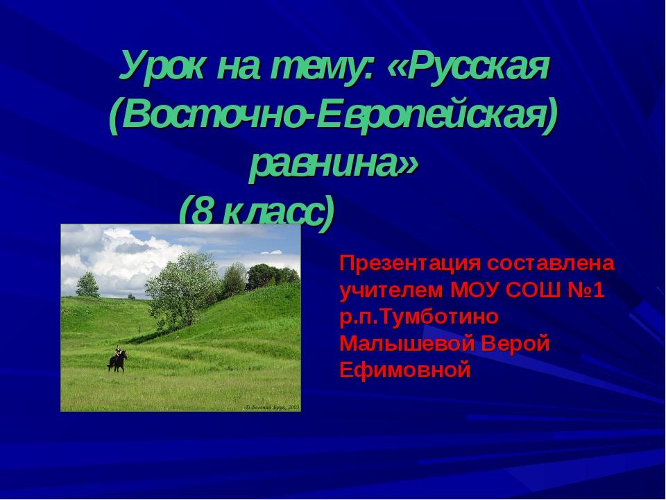 Урок на тему: «Русская (Восточно-Европейская) равнина» (8 класс) Презентация...