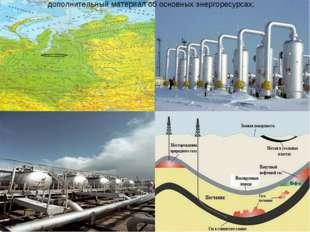 дополнительный материал об основных энергоресурсах;