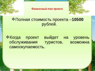 Финансовый план проекта Полная стоимость проекта –10500 рублей. Когда проект