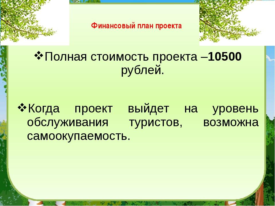 Финансовый план проекта Полная стоимость проекта –10500 рублей. Когда проект...