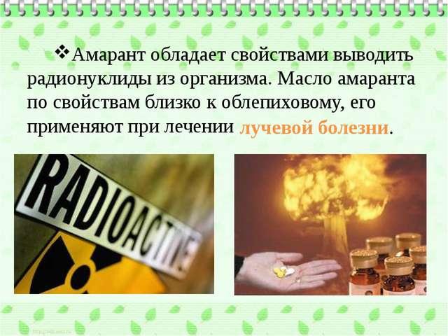 Амарант обладает свойствами выводить радионуклиды из организма. Масло амарант...