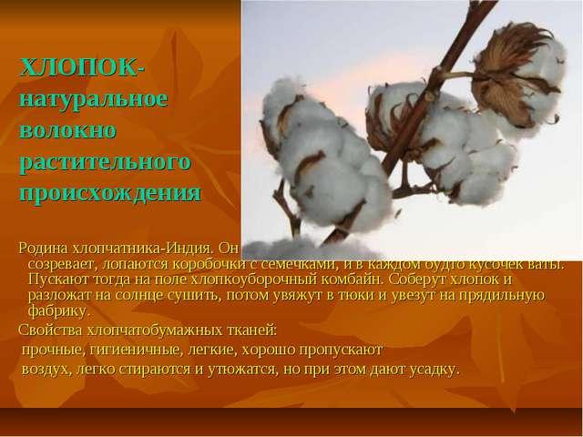ХЛОПОК- натуральное волокно растительного происхождения Родина хлопчатника-И...
