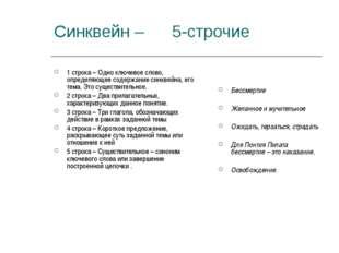 Синквейн – 5-строчие 1 строка – Одно ключевое слово, определяющее содержание