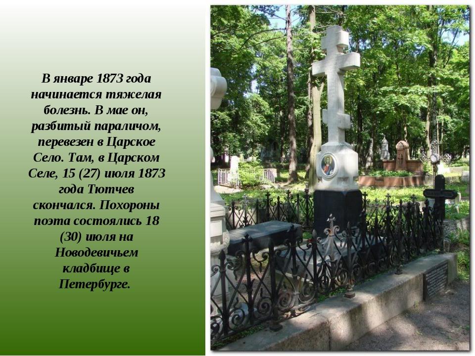 В январе 1873 года начинается тяжелая болезнь. В мае он, разбитый параличом,...