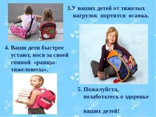 3.У ваших детей от тяжелых нагрузок портится осанка. 4. Ваши дети быстрее ус