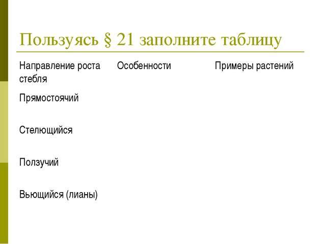 Пользуясь § 21 заполните таблицу Направление роста стебляОсобенности Пример...