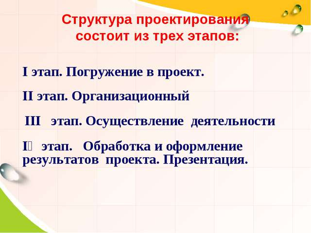 Структура проектирования состоит из трех этапов: Ι этап. Погружение в проект....